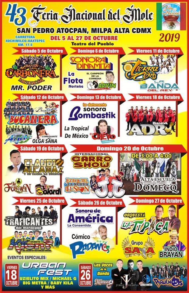 Cartelera Feria Nacional del Mole 2019
