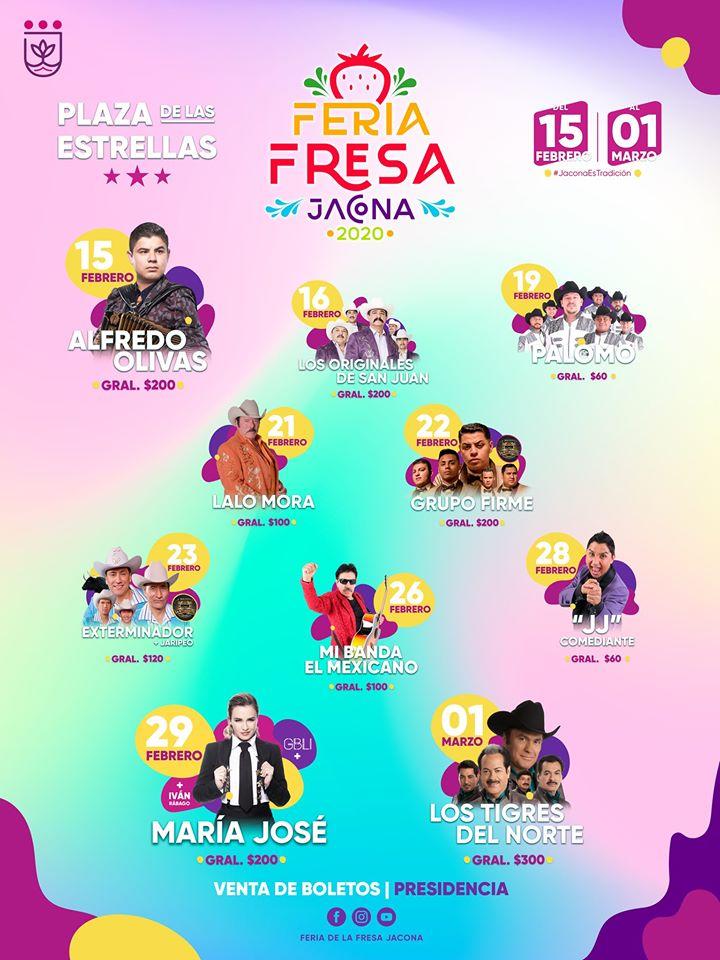 Cartelera Feria de la Fresa Jacona 2020